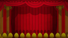 Theatre Curtains Green Screen. Computer generated animation of an illustrated theatre stage opening to green screen. High definition 1080p