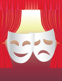 Theatre curtains and masks. Background with the illustration of classical red velvet theatre curtains and traditional theatre masks Stock Photography