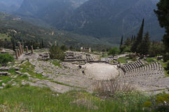 Theatre in Delphi, Greece stock images