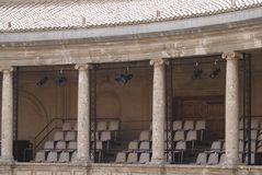 Theatre. details of The Palace of Charles V, Alhambra, Granada, Spain Royalty Free Stock Images