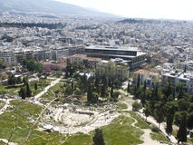 Theatre of Dionysus and Acropolis Museum. In Athens, Geece royalty free stock photos
