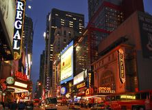 Theatre district, New York City. This is New York city,s, colourful theatre district. Centered around West 42nd street in Manhattan royalty free stock photo