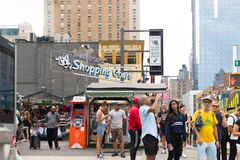 Theatre district shopping court in New York city. New York, August 18, 2018:theatre district shopping court in New York city royalty free stock photos