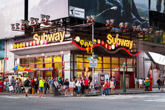 Theatre District Subway Stop - New York City. NEW YORK CITY, USA - 30TH AUGUST 2014: A subway stop along 42nd Street near the Theatre Disrict. Showing large Stock Photos