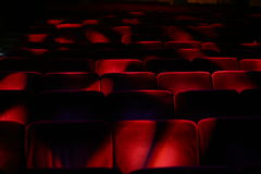 Theatre empty audience. Red seats before the opening of the show Royalty Free Stock Image