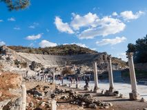 Theatre of Ephesus Ancient City at november at sunny day, Turkey. Royalty Free Stock Image