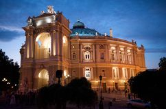 theatre för husodessa opera Arkivbilder