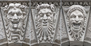 Theatre faces low relief with emotions Royalty Free Stock Photo