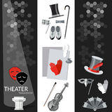 Theatre flat banner black and white Stock Images