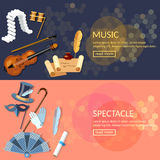 Theatre flat banner set with actors performance musical opera Stock Photography