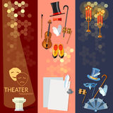 Theatre flat banner set with actors scenario decorations. Dramaturgy performance vector illustration Stock Photos