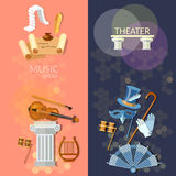 Theatre flat banner. Theater musical operetta literature dramaturgy entertainment and performance elements Stock Images