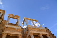 Theatre front detail. Roman Theatre, Merida, Spain Stock Images
