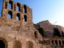 Theatre of Herodes Atticus and Parthenon, Athens Royalty Free Stock Photography