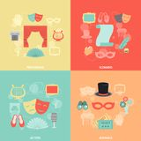 Theatre Icons Flat. Theatre design concept set with performance actors scenario audience flat icons  vector illustration Stock Photos