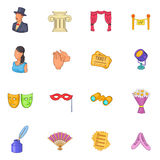 Theatre icons set, cartoon style Royalty Free Stock Photos