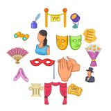 Theatre icons set, cartoon style. Theatre icons set in cartoon style. Theatre acting performance set collection vector illustration Royalty Free Stock Photos