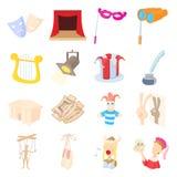 Theatre Icons set, cartoon style Royalty Free Stock Photos