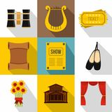 Theatre icons set, flat style. Theatre icons set. Flat illustration of 9 theatre vector icons for web Royalty Free Stock Photography