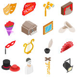 Theatre Icons set, isometric 3d style Royalty Free Stock Photos