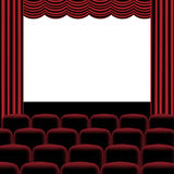 Theatre. Illustration of theatre with red curtain, seats and blank screen Royalty Free Stock Image
