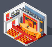 Theatre Interior Composition. Theatre interior isometric composition with lights stage and scenery vector illustration Royalty Free Stock Images