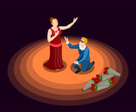 Theatre Isometric Icon. Theatre actor and actress in costumes performing at stage on black background 3d isometric icon vector illustration Stock Photo