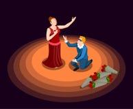 Theatre Isometric ikona ilustracji