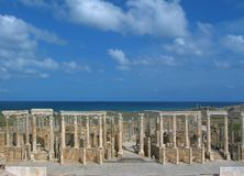 Theatre in Leptis Magna. Libya. Leptis Magna. Theatre - stage and orders of Corinthian columns stock images