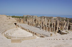Theatre, Leptis Magna, Libya. The theatre in the Roman ruins of Leptis Magna, Libya. with the mediterranean sea in the background Stock Images