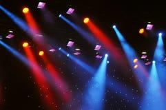 Theatre light set. Multicolor theatre lights and haze in performance venue concert hall stock photos