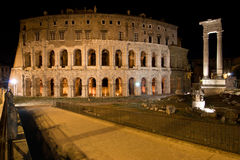 Theatre of Marcellus. And Temple of Apollo Sosianus in Rome - Italy Stock Image