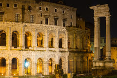 Theatre of Marcellus at night Stock Images