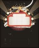Theatre marquee with movie theme objects royalty free illustration