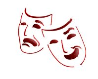 Theatre masks. Over white background Stock Photos
