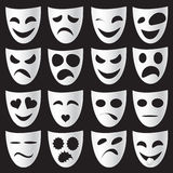 Theatre masks. Isolated theatre masks expressing different emotions Royalty Free Stock Images