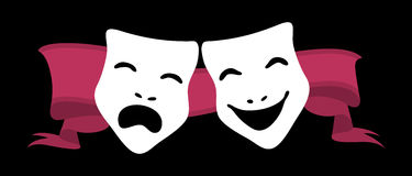 Theatre Masks. Illustration of theater masks and red ribbon Royalty Free Stock Images