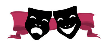 Theatre Masks. Illustration of theater masks and red ribbon Royalty Free Stock Photos