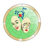 Theatre masks on a green background stained glass pattern royalty free illustration