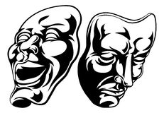 Theatre Masks. Illustration of theatre comedy and tragedy masks Stock Image