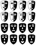 Theatre Masks Set. Collection of 8 black and white theatre masks in two different versions, isolated on white background. Eps file available Stock Photo