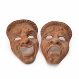 Theatre Masks Set Red Marble on white. 3D illustration Stock Image