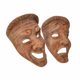 Theatre Masks Set Red Marble on white. 3D illustration Royalty Free Stock Images