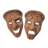 Theatre Masks Set Red Marble on white. 3D illustration Stock Image