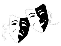Theatre masks (Tragedy comedy). Illustration of theatre masks. Eps file included Royalty Free Stock Photos
