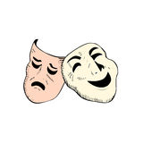 Theatre masks vector. Vectored illustration of theatre drama masks stylized Royalty Free Stock Image