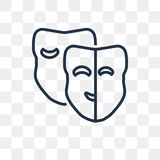 Theatre Masks vector icon isolated on transparent background, li royalty free illustration