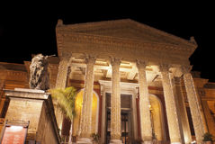 Theatre Massimo by night.Palermo. The Teatro Massimo Vittorio Emanuele is an opera house and opera company located on the Piazza Verdi in Palermo, Sicily. It was Stock Images