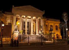 Theatre Massimo by night.Palermo. The Teatro Massimo Vittorio Emanuele is an opera house and opera company located on the Piazza Verdi in Palermo, Sicily. It was royalty free stock photography
