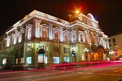 Theatre at night. Night view of the Big Dramatic Theatre in Saint Petersburg Royalty Free Stock Photography